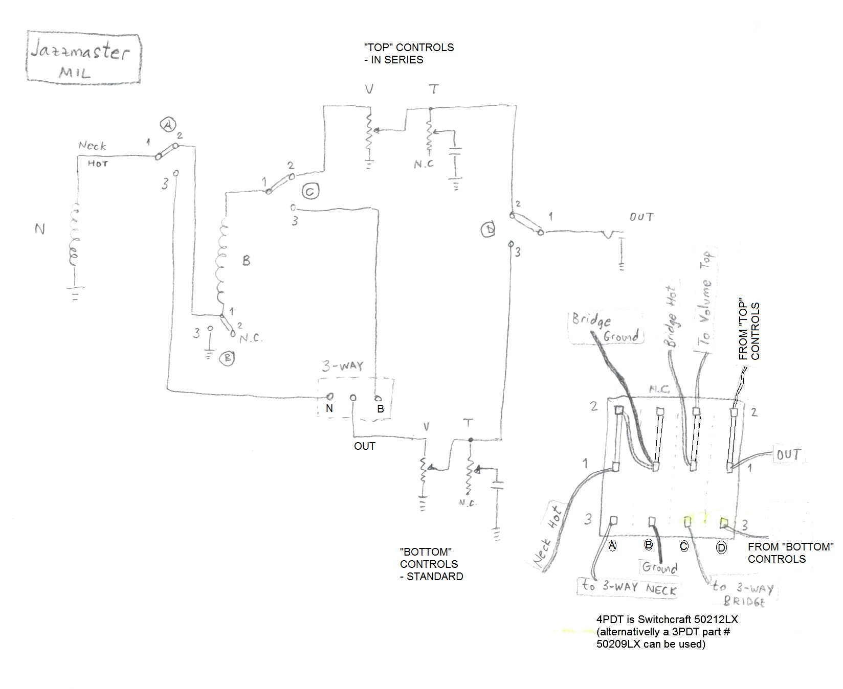 My Top Three Wiring Mods Tone Controls To Independant Pickup Switches Heres The Schematic Showing What Ive Done