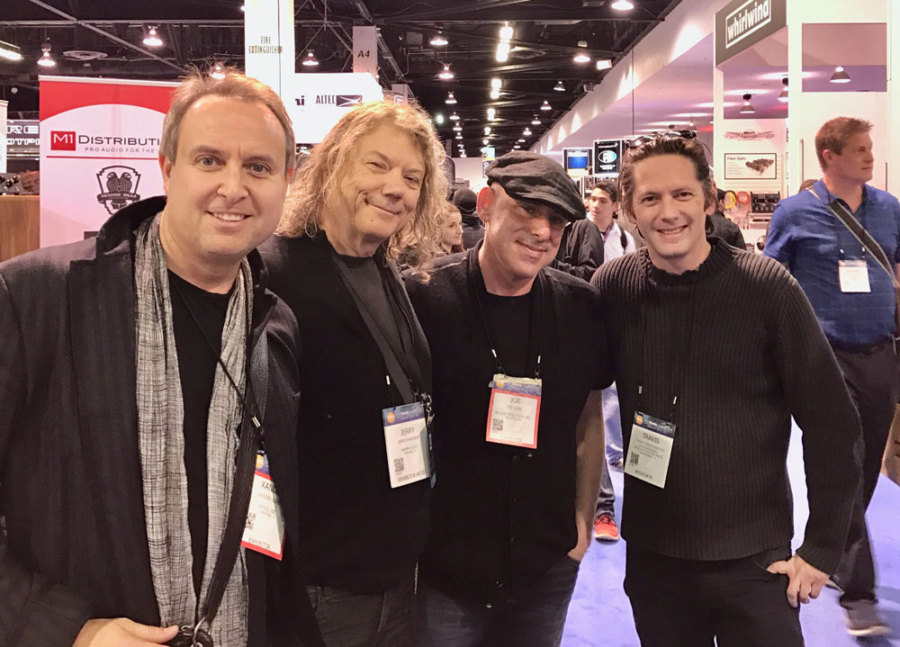 My NorCal crew [L-R]: Xander Soren, the mastermind in charge of music apps at Apple (and a fine player); Talking Head and producer extraordinaire Jerry Harrison; some schnook; engineer, producer, producer, and cool guy Travis Kasperbauer.