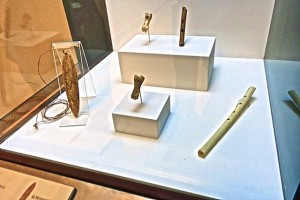 The earliest known musical instruments are flutes.Some may be as much as 43,000 years old. [Museo de Altamira.]
