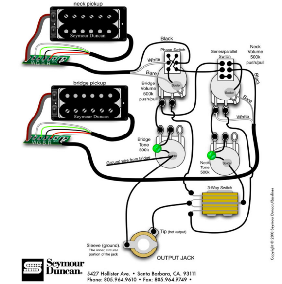 Split Coil Pickup Wiring Diagram on 2 Humbucker Wiring Diagrams
