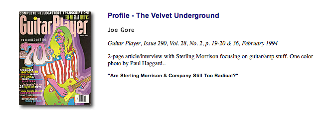 Guitar Player Sterling Morrison interview