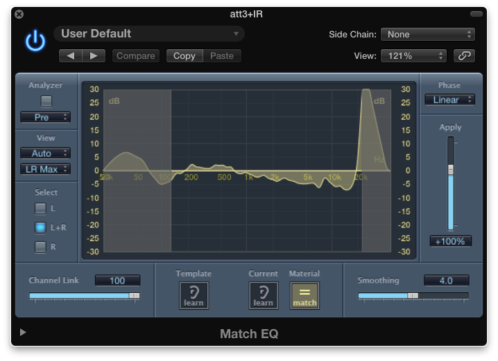 "Match EQ says: ""Boost low-mids and roll off highs."""