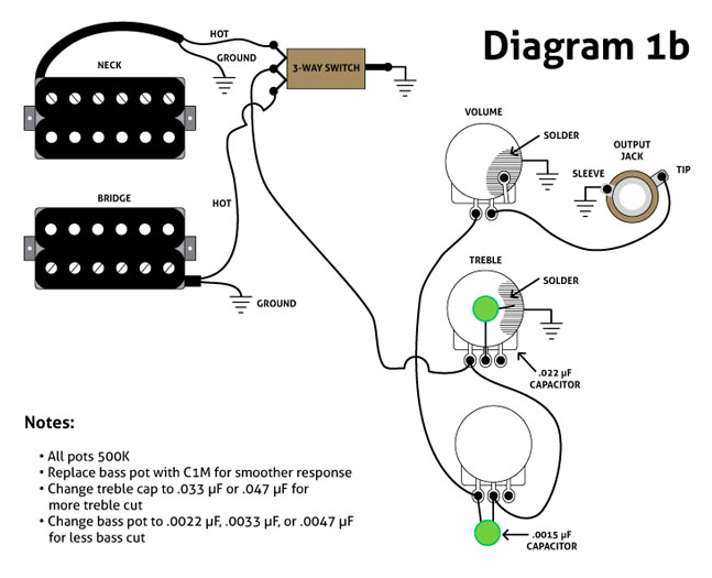 wiring tone controls to independant pickup switches